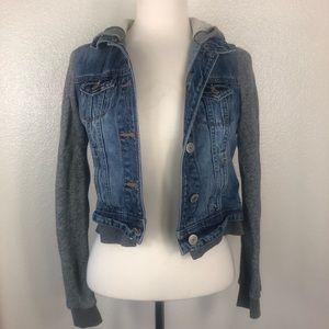 American Eagle   Grey Sweater Denim Jean Jacket